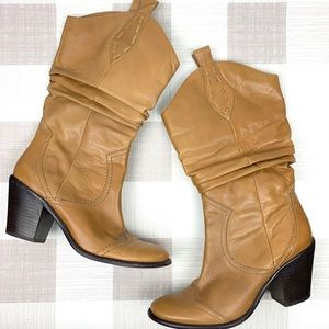 BCBGeneration Mid Calf Leather Boots Pull On Sz 7